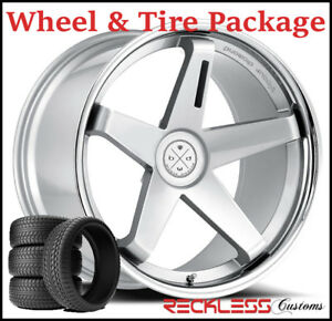 20 Blaque Diamond Bd21 Concave Silver Wheels And Tires Fits Ford Mustang Gt
