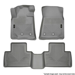 Custom Fit Grey 1st 2nd Row Floor Mat Liners Set 05 15 Toyota Tacoma Double Cab