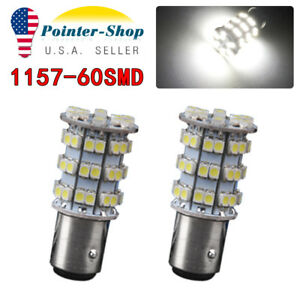 2pcs 1157 60 Smd 3528 White Backup Reverse Turn Signal Stop Led Light Bulbs
