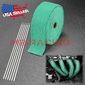 Green Teal Exhaust Pipe Insulation Thermal Heat Wrap 2 X 50 Motorcycle Header