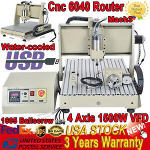 Usb 4 Axis Cnc 6040t Router 1500w Vfd Engraver Engraving Drilling Milling 1 5kw