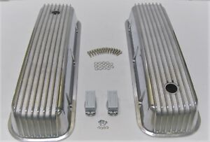 Bbc Big Block Chevy Tall Finned Polished Aluminum Valve Covers 396 427 454 Tall