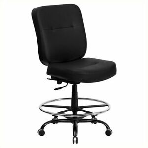 Scranton And Co Leather Swivel Drafting Chair In Black