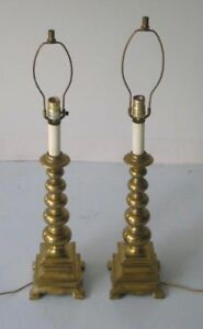 Pair Of Solid Brass Lamps Vintage Hollywood Regency Parzinger Style