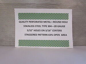 20 Gauge 304 Stainless Perforated Sheet 5 32 Holes On 3 16 staggered 12 X 12