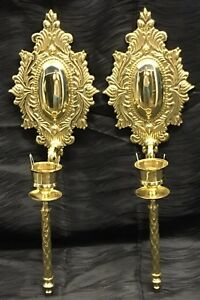 Vintage 18 5 Antique Brass Pair Candle Sconces French Style Hollywood Regency