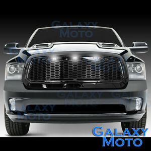Raptor Gloss Black Replacement Mesh Grille Shell White Led For 13 17 Dodge Ram