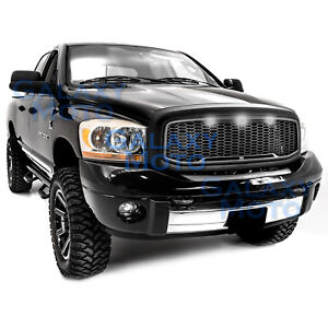 Raptor Matte Black Replacement Mesh Grille Shell White Led For 06 09 Dodge Ram