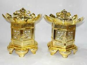 Japanese Buddhist Altar Hanging Lantern Toro Gold Plating Brass 1 Pair Rare Nr