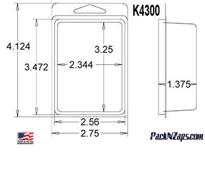 K4300 875 4 h X 3 w X 1 375 d Clamshell Packaging Clear Plastic Blister Pack
