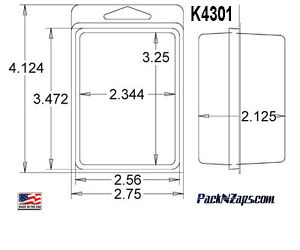 K4301 875 4 h X 3 w X 2 1 d Clamshell Packaging Clear Plastic Blister Pack