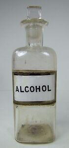Antique Alcohol Apothecary Bottle Medicine Science Lab Label Behind Glass P 1889