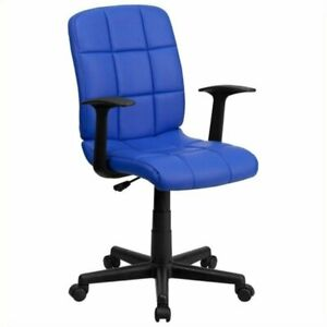 Scranton Co Faux Leather Mid back Office Chair With Arms In Blue