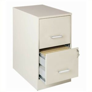Space Solutions 22 Deep 2 Drawer Metal File Cabinet For Home Or Office Stone