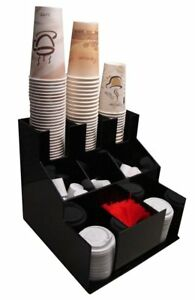 Coffee Cup Dispenser And Lid Holder Organizer Condiment Stirrer Sugar Cup Caddy