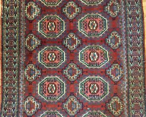 Tremendous Tekke Gul 1920s Antique Persian Turkmen Yamout Rug 4 3 X 6 6 Ft