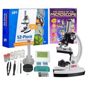 Amscope kids 120x 1200x Starter Metal Arm Biological Microscope Kit Book