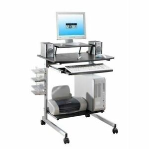 New Mobile Computer Cart Storage Wheels House Cpu Printer Pewter Black Desk Nib