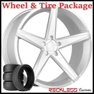 22 Concept One Csm02 Concave Silver Wheels And Tires Fits Dodge Charger