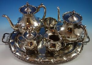 A Torres Vega Mexican Sterling Silver Tea Set 5pc With Tray 1701