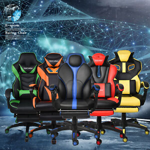 Racing Style Gaming Chair Computer Drafting Stool High Back Leather Office Seat