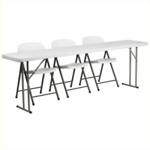Flash Furniture Folding Table And 3 Stacking Chairs In White