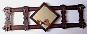 Vintage Wooden Coat Hat Wall Rack With Mirror 8 Hooks