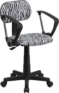Zebra Print Home Office Desk Dorm Task Chairs Arm Armless Pink Green Black White