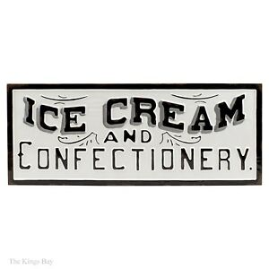Big 30 Long Metal Ice Cream Confectionery Soda Fountain Vintage Style Wall Sign
