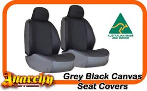 Front Bucket 3 4 Grey Black Canvas Seat Covers For Ford Ranger Px 10 2011 4 2015