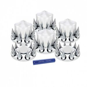Chrome Semi Truck Front Rear Axle Cover Set With Pointed Hub Cap 33mm Lug Nuts