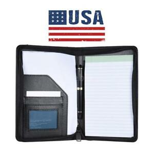 A5 Zipped Leather Business Conference Portfolio Folder Briefcase Handles us X8t4