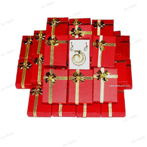 Lot Of 72 Red Wholesale Jewelry Boxes Earring Boxes Bow tie Box Pendant Boxes