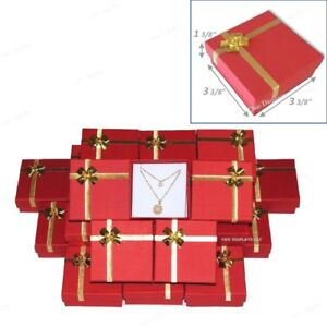 Lot Of 48 Red Jewelry Boxes W bow Tie Earring Box Pendant Boxes Wholesale Boxes