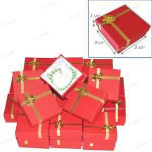 Lot Of 48 Red Bracelet Boxes Bangle Box W bow Tie Wholesale Jewelry Boxes Deal