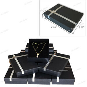 Lot Of 12 Pc Black Necklace Display Jewelry Gift Box Large Necklace Box 1 5 h