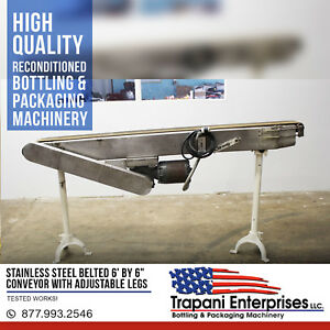 Stainless Steel Belted 6 By 6 Conveyor With Adjustable Legs Tested Works