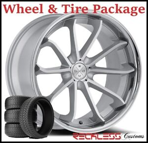 20 Blaque Diamond Bd23 Concave Silver Wheels Tires Fits Ford Mustang Gt Gt500