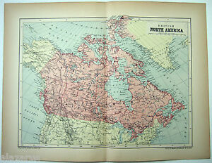 Original 1895 Map Of British North America By W A K Johnston