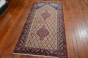 Vintage Persian Hamadan Design Prayer Rug 3 4 X7 Brown Blue All Wool Pile