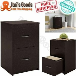 2 Drawer File Cabinet Filing Drawers Wood Home Office Letter Espresso Impressing