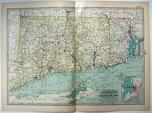 Original 1902 Map Of Connecticut Rhode Island