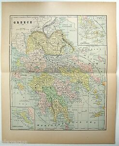 Original 1904 Map Of Greece By Fisk Co