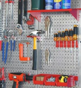 Steel Pegboard Organizer Set Of 2 Shop Garage Wall Diy Tools Storage Board Panel