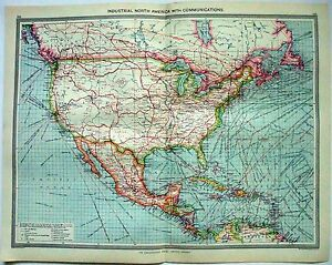 Original Map Of North America Industries Communication By George Philip C1907