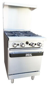 New Commercial 24 Range Oven With Four Burners Made In Usa By Ideal Etl List