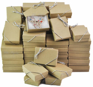Lot Of 100 Kraft Cotton Filled Box Jewelry Gift Boxes Box Jewelry Box deal