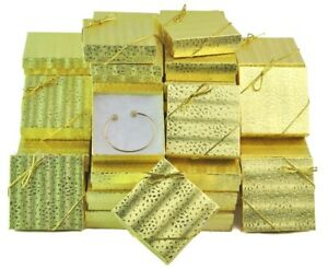 Lot Of 100 Gold Cotton Filled Box Jewelry Gift Boxes Bracelet Box 3 5x3 5 Hot