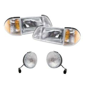 Nib 1987 93 Ford Mustang Headlight Kit Pair Fog Lights 5 0 Gt Fox Body