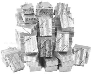 Lot Of 100 Silver Cotton Filled Box Jewelry Gift Boxes Earring Box 3 1 4 X 2 1 4